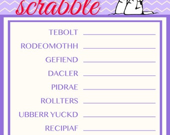 Snoopy Baby Shower Game Word Purple Scrabble~Printable~INSTANT DOWNLOAD