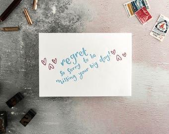 Regret RSVP Letterpress Wedding Card
