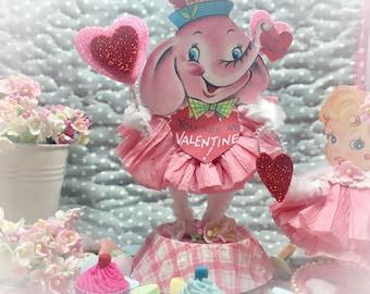 Pink Elephant Valentine's Day Decor Vintage Style Bump Chenille Figure Shabby Chic Paper Doll Figurine Paperdolls Cake Topper Centerpiece