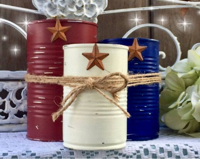 Featured listing image: 3 Rustic Americana Farmhouse Painted Tin Can Caddy Set Rusty Star & Removable Twine/Jute Patriotic Decorations 4th of July Independence Day