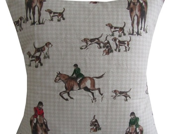 "Designer horse and hound check dog shooting hunting cushion cover 16"" - 24"""