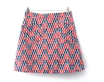Vintage 60s skirt mod geometric pattern red navy blue