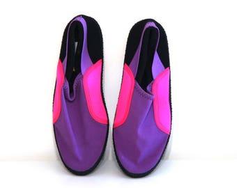 Vintage water socks shoes 80s 90s neon pink purple black womens 7