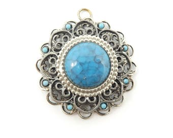 Vintage Faux Turquoise Pendant, Filigree