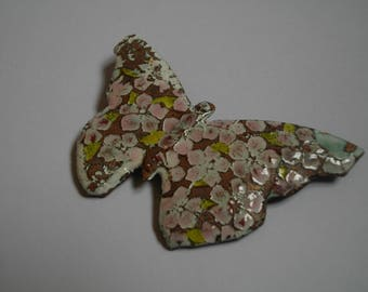 """Cherry blossom"" pin / fashion accessory, shape, butterfly and flowers of cherry-enamels on copper"