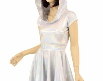 Hooded Silvery White Flashbulb Holographic Cap Sleeve Fit and Flare Hoodie Skater Skate Dress w/Self-Lined Hood Rave Clubwear EDM - E8098