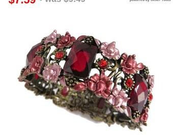 ON SALE! Red Rhinestone Flower Bracelet, Vintage Floral Cuff Bangle Costume Jewelry Bracelet