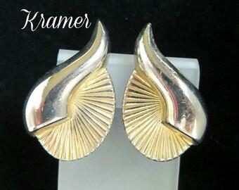 Kramer Earrings - Vintage Two Tone Earrings,  Shell Shaped Clip-on Earrings, Gift idea, FREE SHIPPING