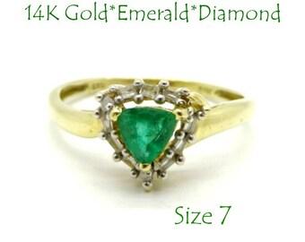 14K Gold Emerald Ring - Colombian Emerald & Diamond Ring, Vintage Trillion Cut Emerald, Size 7