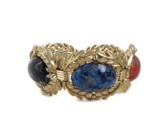 Vintage Lucite Gold Leaf Link Bracelet, Signed Emmons Multi Color Gold Spattered Jewelry