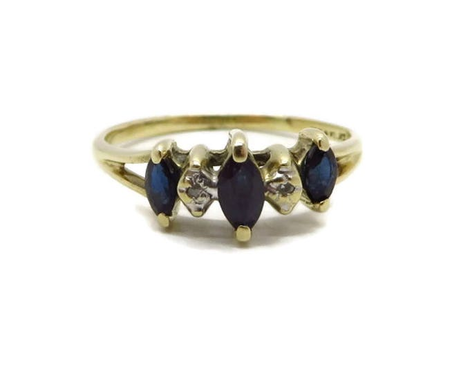 10K Gold Sapphire, Diamond Ring - Vintage Estate Wedding, Anniversary Ring, Size 5