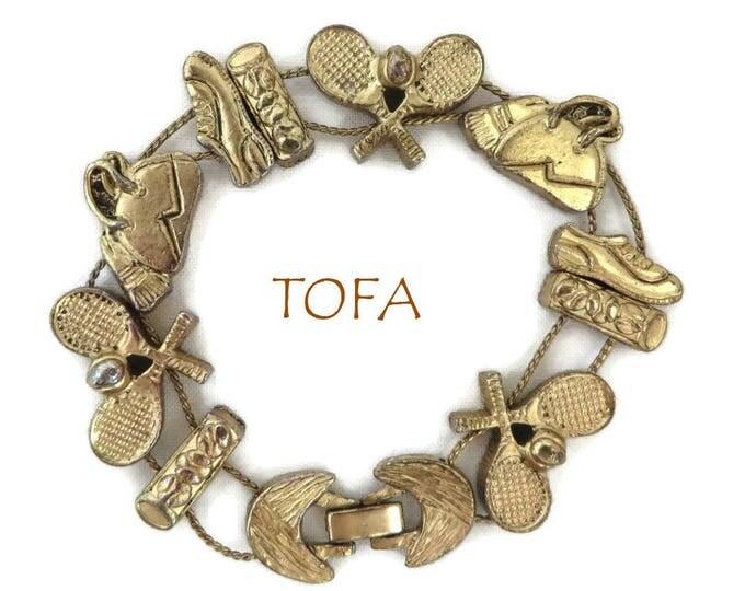 Charm Bracelet, TOFA Tennis Bracelet, Vintage Gold Tone Slider Signed TOFA Bracelet, Gift for Her