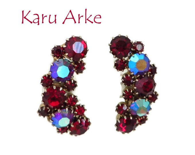 Red Rhinestone Earrings - Vintage Signed Karu Arke Clip-on Earrings, Bridal Jewelry, Formal Wear, Perfect Gift, Gift Box