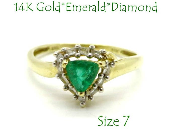 14K Gold Emerald Ring - Colombian Emerald & Diamond Ring, Vintage Trillion Cut Emerald, Size 7