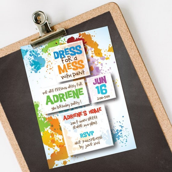 Paint Party Birthday Invitation INSTANT DOWNLOAD