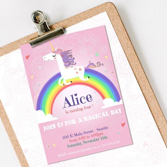 Unicorn Birthday Invitation INSTANT DOWNLOAD