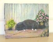 Painting of Cat, Vintage Oil Painting of Black Cat, Socks