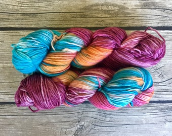 As You Wish - Superwash Merino Hand Dyed Yarn - DK Weight yarn - Single Ply Yarn