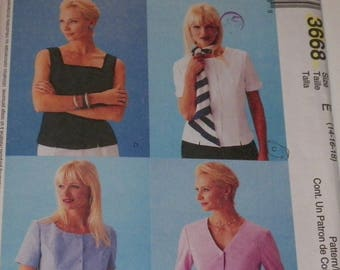 Misses Plus Size Sewing Pattern Misses Tops With Princess Seams 4 Styles UNCUT Sizes 14-16-18 McCall's 3668 Classiy Summer Wear