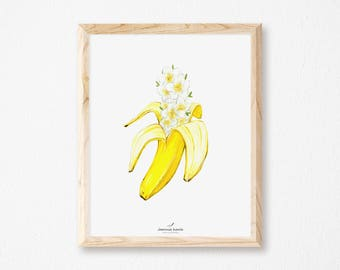 Art print with banana and flowers, illustration by Joannie Houle
