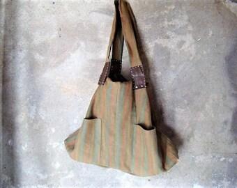 Italian bag, 99% re-used materials,natural tote adjustable, Italian-Dutch eco design. Gift. JJePa
