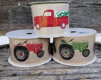 Green Tractor Burlap Ribbon (10 yards per roll)