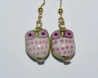 Green & Pink Owl Earrings