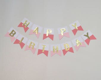 Gold Foil Birthday Banner (Pink and Coral)