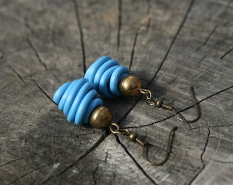Upcycled vegan jewelry. Blue earrings made of recycled electric cables HONGKONG. Original gift for her. Eco fashion. Sustainable design.