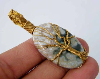 Ocean Jasper Pendant, Brass Wire Wrapped Pendant, Tree Of Life Pendant, Wire Wrapped Tree Pendant, Handmade Jewelry SH-3915