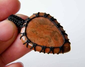 Red River Jasper Macrame Pendant, Jasper Macrame Necklace, Macrame Jewelry, Pendant Necklace SH-5326