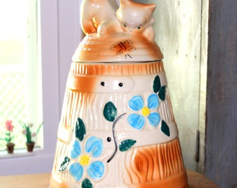 Vintage Cat Cookie Jar Yellow Barrel Beehive Cookie Jar with Kitten Cat and Butterfly Blue Flower Design 1950 American Bisque Pottery