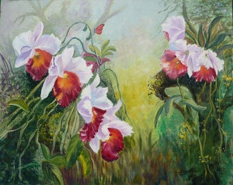 OIL on canvas - red orchids