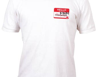 Limited Edition White Small Logo Fan Art Finn FN-2187 Name Badge Shirt All sizes up to Plus 5x
