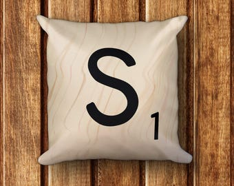 """Scrabble Tile Square Pillow - Letter S - 18"""" x 18"""" Throw Pillow - each letter with unique wood pattern - cover and insert included"""