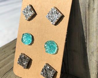 Druzy stud earrings silver druzy charms blue druzy Charms stud earrings silver earrings square druzy charms circle druzy charms resin