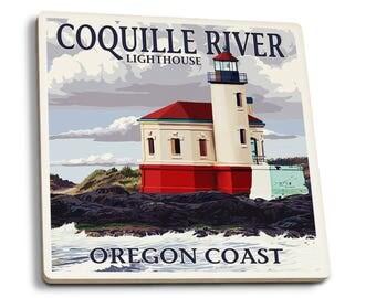 Oregon Coast Coquille River Lighthouse LP Artwork (Set of 4 Ceramic Coasters)