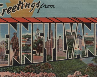 Greetings from Pennsylvania - Vintage Halftone (Art Print - Multiple Sizes Available)