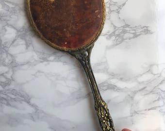 Vintage Handheld Mirror with Satin Backing