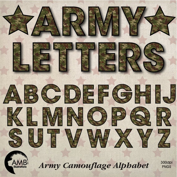 May The Fourth Be With You Lettering: Camouflage Alphabet Clipart USA Memorial Day Alphabet Camo