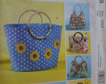 McCalls M4885, handbags, bags, UNCUT sewing pattern, craft supplies
