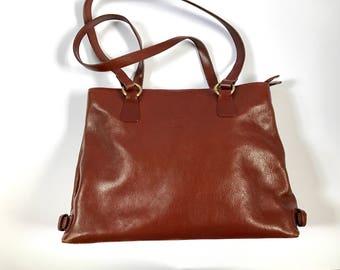 Brown Leather Shoulder Bag. Leather Handbag. French Vintage Bag. Vintage Leather Bag. Brown Leather Bag. Laptop Bag. iPad Bag