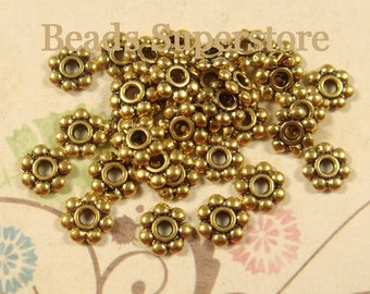 6 mm Antique Gold Daisy Spacer - Nickel Free, Lead Free and Cadmium Free - 100 pcs (DS6AG)