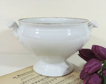 French Antique Tureen /French Antique Ironstone Tureen/Antique Tureen/Soupiere/White Ironstone Tureen/Lidless Tureen/Shabby Chic Tureen