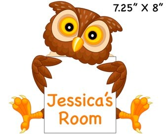 Custom, Personalized Wall Art - Owl With Sign - Free Standard Shipping