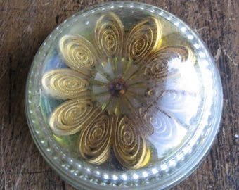 glass dome paperweight, Vintage glass paperweight with gold flower made of ribbon