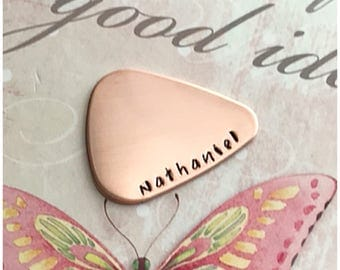 Copper Guitar Pick Hand Stamped With Name - Valentine's Day Gift - Personalized Name Guitar Pick - Custom Metal Accessory for Music Player