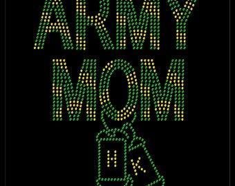 Dog Tags Combat Boots Military Mom Army Rhinestone Iron On Transfer Hotfix Bling
