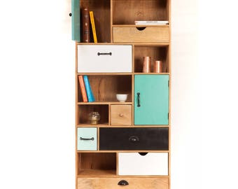 Wood design Bookcase with drawers