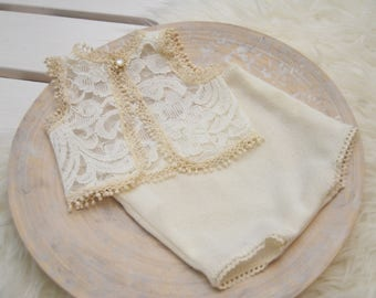 Newborn Lace Outfit, Newborn Photo Prop, Newborn Props, Baby Outfit, Lace Romper, Newborn Top & Panties, Newborn Bloomers, Ivory, code 105